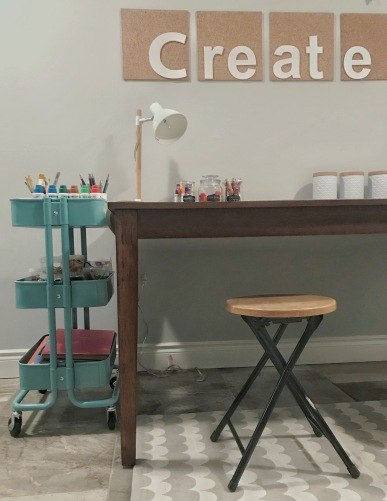 A Kijiji table was a steal and perfect for the basement craft space